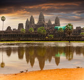 Angkor Wat temple with reflecting in water Royalty Free Stock Photo