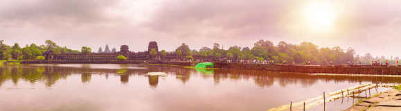 Angkor Wat temple with reflecting in water Royalty Free Stock Photography