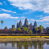 Angkor Wat Temple reflection in the pond water Royalty Free Stock Photos