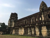 Angkor Wat temple ruin in Cambodia. And blue sky Royalty Free Stock Image