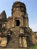 Angkor Wat temple ruin in Cambodia. Stairs of Angkor Wat temple ruin in Cambodia and blue sky Stock Photos