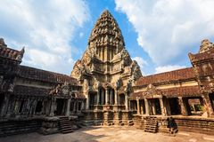 Angkor Wat temple, Siem Reap. Main tower of Angkor Wat temple in Siem Reap in Cambodia. Angkor Wat is the largest religious monument in the world royalty free stock photos