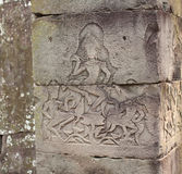 Angkor Wat temple stone carving detail Stock Image