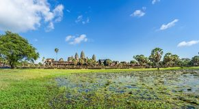 Angkor Wat Temple in sunny day Cambodia. Royalty Free Stock Image