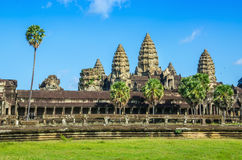Angkor Wat Temple in sunny day, Cambodia. Royalty Free Stock Image