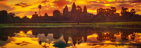 Angkor Wat temple at sunrise. Siem Reap. Cambodia. Panorama stock photography