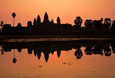 Angkor Wat Temple during sunrise Stock Photos
