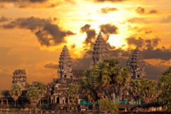 Angkor Wat temple on sunset Royalty Free Stock Photos