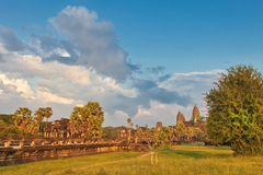 Angkor wat temple in sunset light Stock Photo