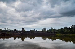Angkor Wat Temple, UNESCO World Heritage, and its reflection in the lake, Siem Reap Province, Cambodia. September 3, 2015 Stock Photos