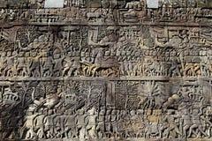Angkor Wat Temple Wall Curving Lizenzfreie Stockfotos