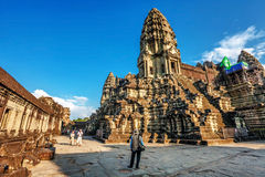 Angkor Wat temple in warm sunset light Royalty Free Stock Image