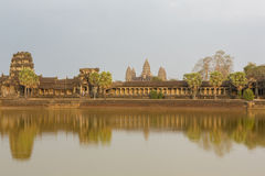 Angkor Wat temple with water reflection, Unesco site in Cambodia Stock Photo