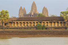 Angkor Wat temple with water reflection, Unesco site in Cambodia Royalty Free Stock Photo