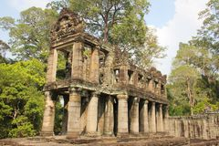 Angkor Wat Temples area in Siem Reap. Ancient ruins structure in Angkor Wat Temples area in Siem Reap, Cambodia. Unesco World Heritage Site. Travel destination stock photo