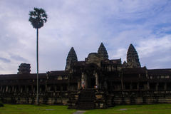 Angkor Wat Terrace area with palm tree. The Ancient angkor wat at cambodia Royalty Free Stock Photography