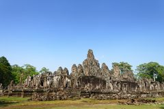 Angkor Wat - Angkor Thom και μπλε ουρανός είναι παγκόσμια κληρονομιά σε Siem Στοκ Φωτογραφία