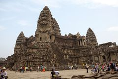 Angkor Wat. Tourist are visiting the complex of Angkor Wat, Angkor, Siem Reap, Cambodia. Angkor Wat was first a Hindu later a Buddhist temple complex and the royalty free stock image