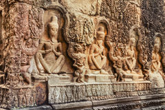 Angkor Wat - UNESCO World Heritage site near Siem Reap, Cambodia. Details of ancient Khmer religious symbols of religion in wall paintings in temple Angkor wat Royalty Free Stock Photography