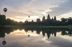 Angkor Wat is an UNESCO World Herutage site since 1992. Famous for it`s construction process and carving murals. Attract visitors from all over the world to Stock Images