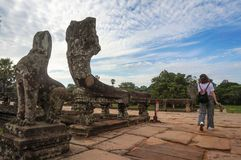 Angkor Wat is an UNESCO World Herutage site since 1992. Famous for it`s construction process and carving murals. Attract visitors from all over the world to Stock Image