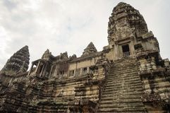 Angkor Wat is an UNESCO World Herutage site since 1992. Famous for it`s construction process and carving murals. Attract visitors from all over the world to Royalty Free Stock Photo