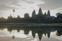 Angkor Wat is an UNESCO World Herutage site since 1992. Famous for it`s construction process and carving murals. Attract visitors from all over the world to Royalty Free Stock Image