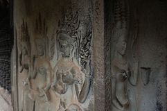 Angkor Wat is an UNESCO World Herutage site since 1992. Famous for it`s construction process and carving murals. Attract visitors from all over the world to Royalty Free Stock Photos
