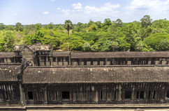 Angkor Wat view from 3rd level. Angkor, Siem Reap, Cambodia - April 14, 2013 : Angkor Wat - view down from the 3rd level Royalty Free Stock Photos