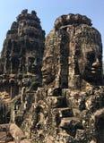 Angkor Wat w Siem Przeprowadza żniwa, cambodia Kamień twarze rzeźbili w antycznych ruinach Bayon Khmer świątynia zdjęcie royalty free