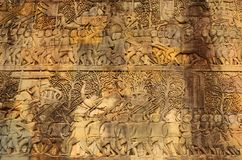 Angkor Wat, wall detail,Cambodia stock photo