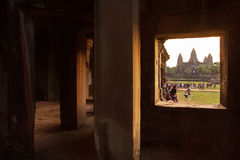 Angkor wat through the window. Siem-reab, Cambodia:6 Dec 2013 Royalty Free Stock Photography