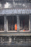 Angkor Wat Young Monk monsoon season Royalty Free Stock Photography