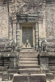 Angkor Watt - Ta Prohm temple ruin walls of the khmer city of Angkor wat site in Cambodia - State monument Royalty Free Stock Photo