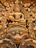angkorcarvings stenar wat Royaltyfria Bilder