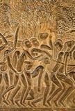 angkorcarvings wall wat Arkivbild