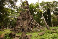 Angkorian tempel i djungeln Fotografering för Bildbyråer