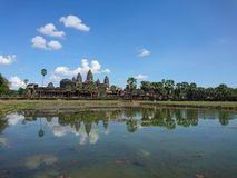 Angkorwat under blue sky. Angkorwat largest. Temple in the workd stock image