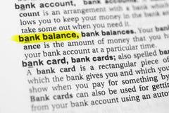 ` Anglais accentué de solde bancaire de ` de mot et sa définition dans le dictionnaire photographie stock