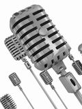 Angle. Silver microphones on a stand Royalty Free Stock Image