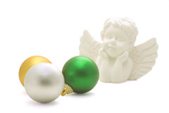 Angel with baubles Royalty Free Stock Image