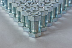 Angle of bolts and nuts Royalty Free Stock Photos
