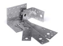 Angle bracket. Mounting angle bracket and plate isolated on white Stock Photo