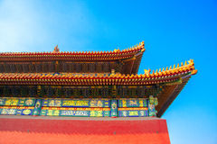 The angle of the Chinese temple view from the bottom of the roof in a sunny autumn day Royalty Free Stock Image