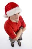 angle christmas hat high male view wearing Στοκ Φωτογραφία