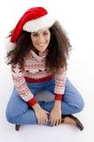 angle christmas hat high view woman young Στοκ Φωτογραφίες