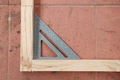 Angle de mesure de structure en bois photo libre de droits