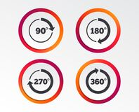 Angle degrees circle icons. Geometry math signs. Angle 45-360 degrees circle icons. Geometry math signs symbols. Full complete rotation arrow. Infographic Stock Images