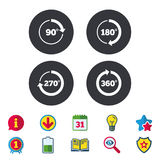 Angle degrees circle icons. Geometry math signs. Angle 45-360 degrees circle icons. Geometry math signs symbols. Full complete rotation arrow. Calendar Stock Image