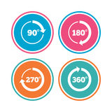 Angle degrees circle icons. Geometry math signs. Angle 45-360 degrees circle icons. Geometry math signs symbols. Full complete rotation arrow. Colored circle Royalty Free Stock Photos